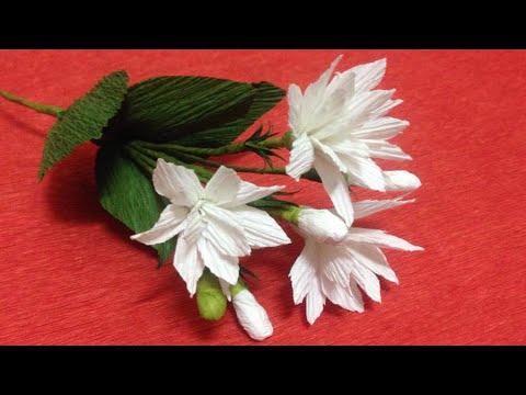 How to Make Jasmine Crepe Paper Flowers - Flower Making of Crepe Paper - Paper Flower Tutorial