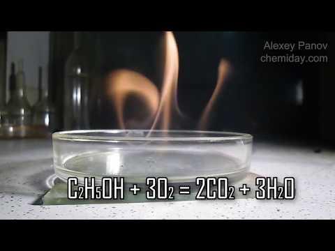 C2H5OH + 3O2 → 2CO2 + 3H2O | Реакция взаимодействия этанола и кислорода