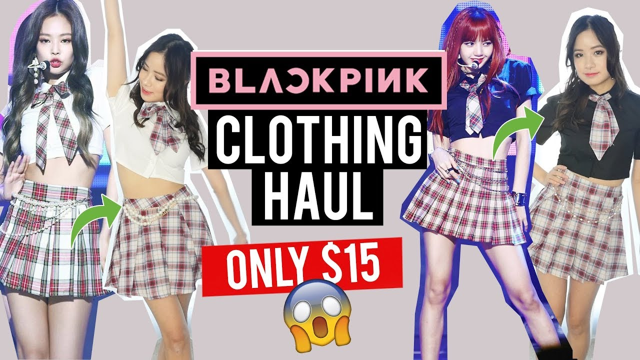 Try On: BLACK PINK CLOTHES for UNDER $15! CHEAP KPOP OUTFITS?