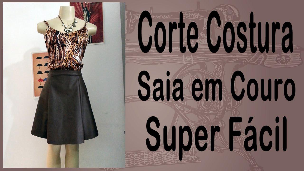 9bd2d8821f Corte e Costura passo-a-passo Saia Evasê - Saia de Couro - Super ...