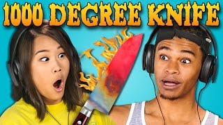 Repeat youtube video TEENS REACT TO 1000 DEGREE KNIFE COMPILATION