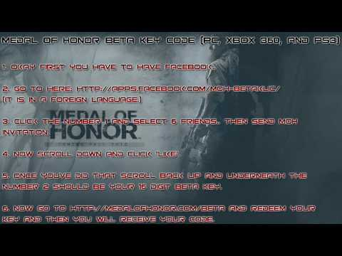 Medal of Honor Beta Key Code (pc, xbox 360, and ps3)