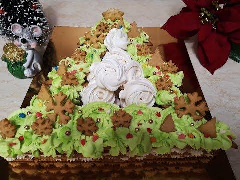 НОВОГОДНИЙ торт ЁЛКА с БЕЗЕ и СОЛЁНОЙ КАРАМЕЛЬЮ.Вкуснее не бывает. Новый год 2020