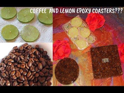 DIY Epoxy coasters with real coffee beans and real lemon slices.