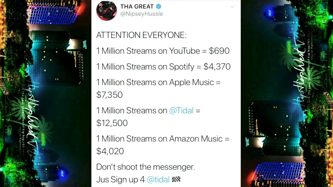 Nipsey Hussle shows us how much he's paid by YouTube Vs other streaming  services