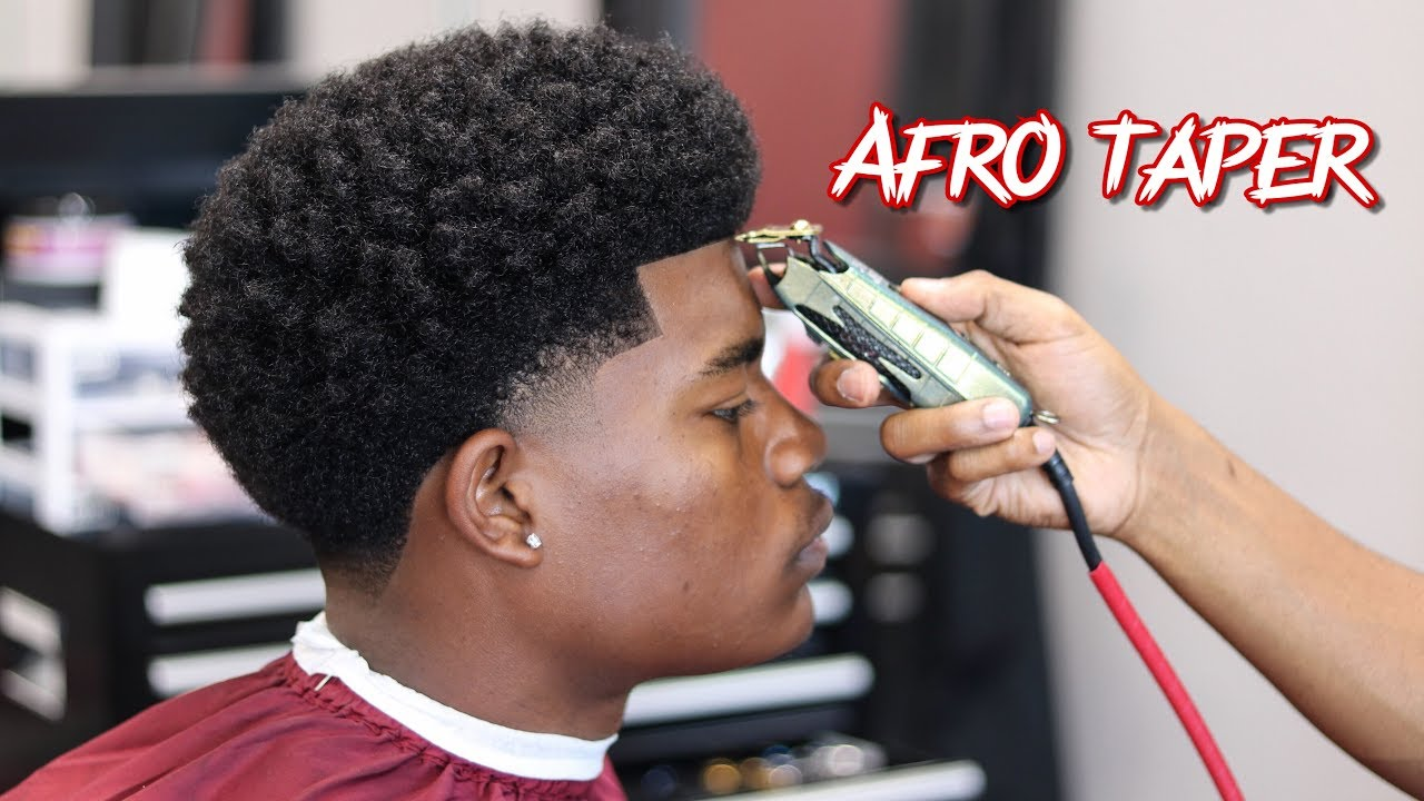 Barber Tutorial Afro Taper Curl Sponge With Side Part Youtube