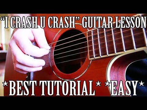 """How to Play """"I Crash U Crash"""" by Lil Peep on Guitar for Beginners *EASIEST WAY*"""