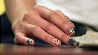 DIY Nautical Nail Art Manicure For Spring