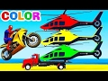 Learn Color Helicopter and Motorbike w Spiderman Cars Cartoon for Kids & Colors for Children Nurser