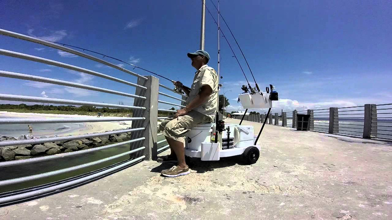 Fishing with seamule pier cart youtube for Pier fishing cart