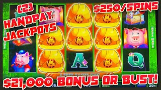 HIGH LIMIT UP TO $250 SPINS on Lock It Link Huff N' Puff (2) JACKPOT HANDPAYS 🔒Slot Machine Casino