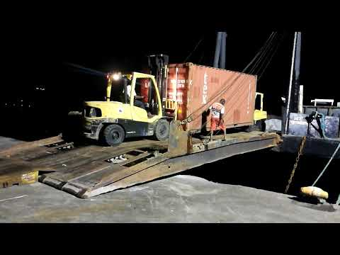 Container donated by Kestrel for the British Virgin Islands loaded onto vessel