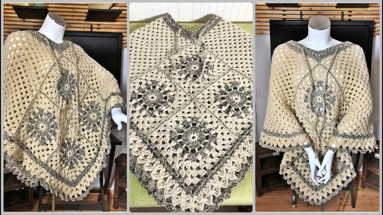 Learn how to crochet Granny Squares Poncho of pure natural sheep\'s ...