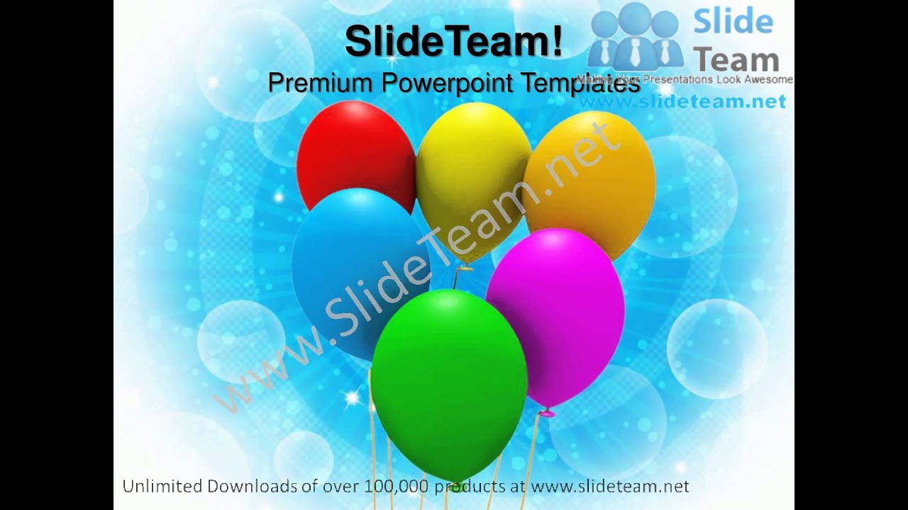 Colorful Balloons Party Birthday Powerpoint Templates Ppt Themes
