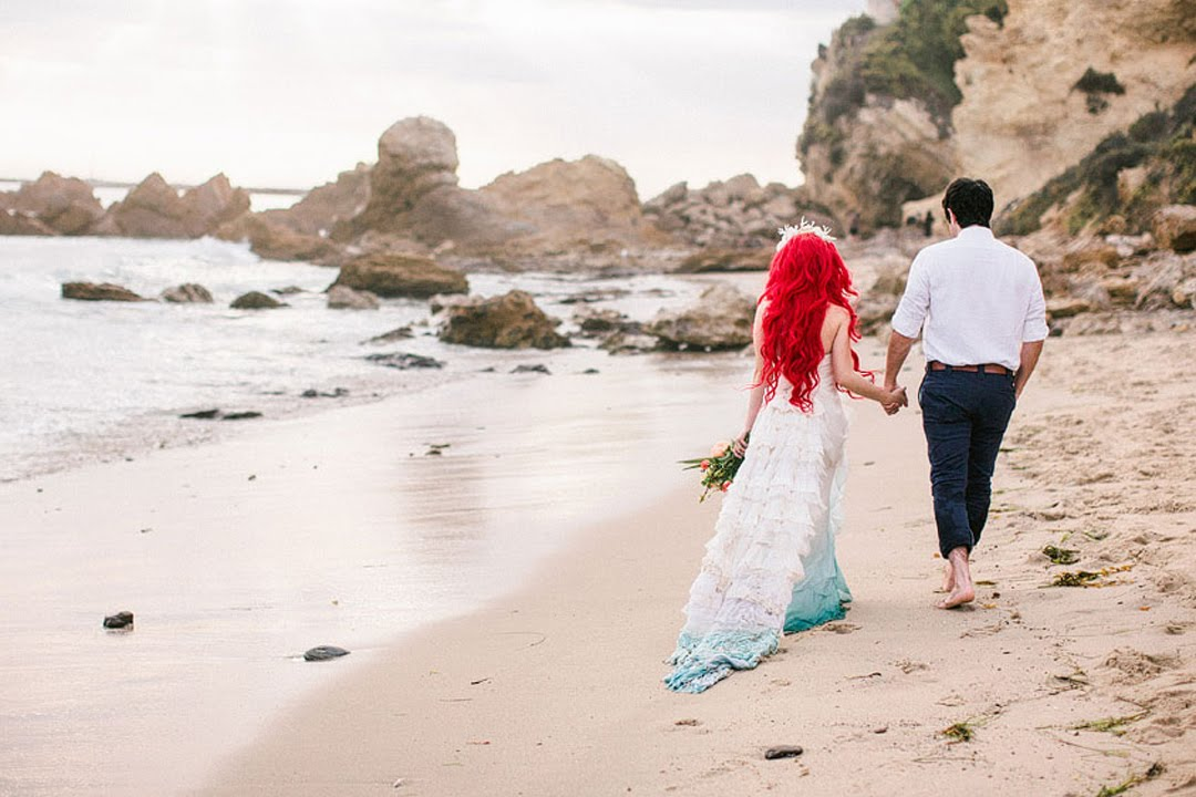 Little Mermaid Wedding Photoshoot Kiss The Girl Traci Hines X