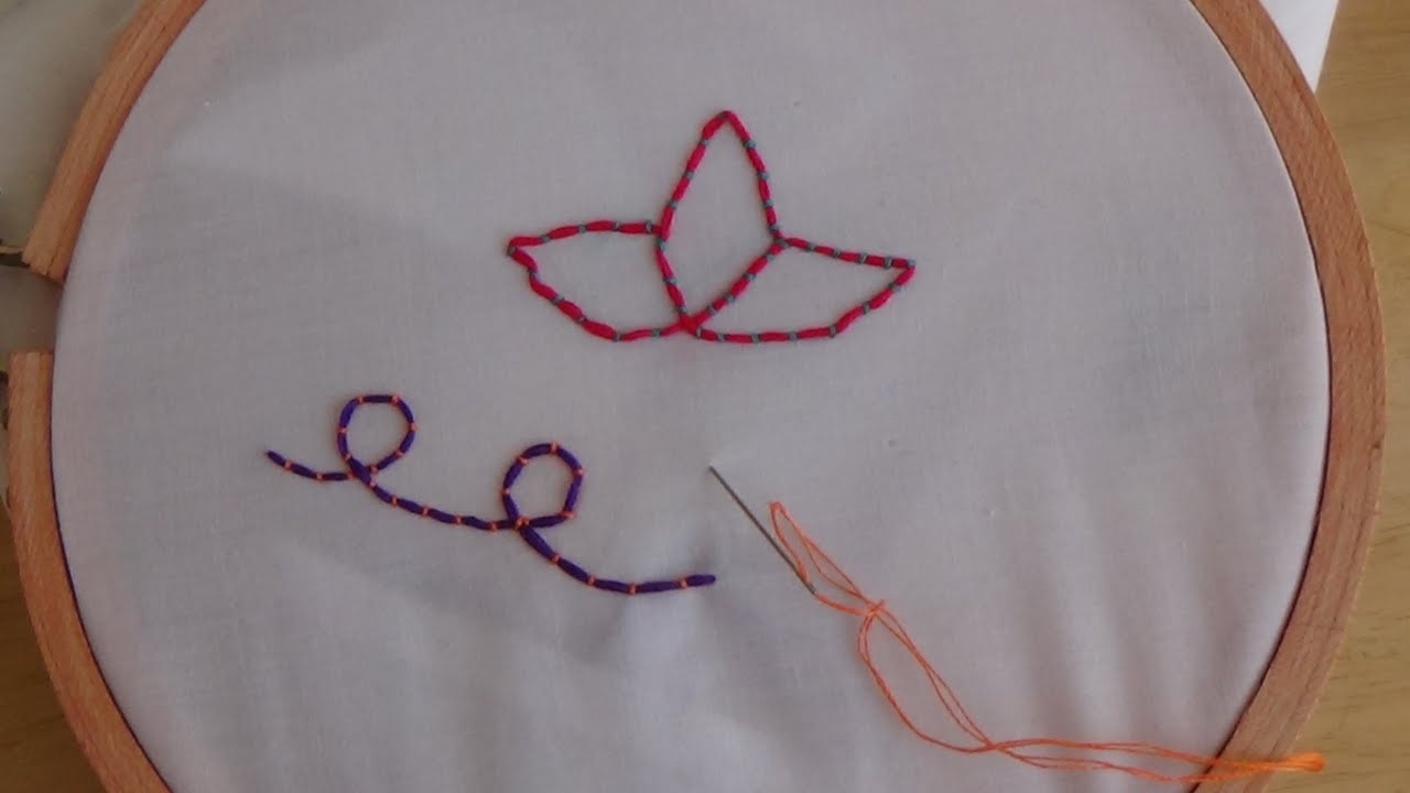 Hand Embroidery Couching Stitch Youtube