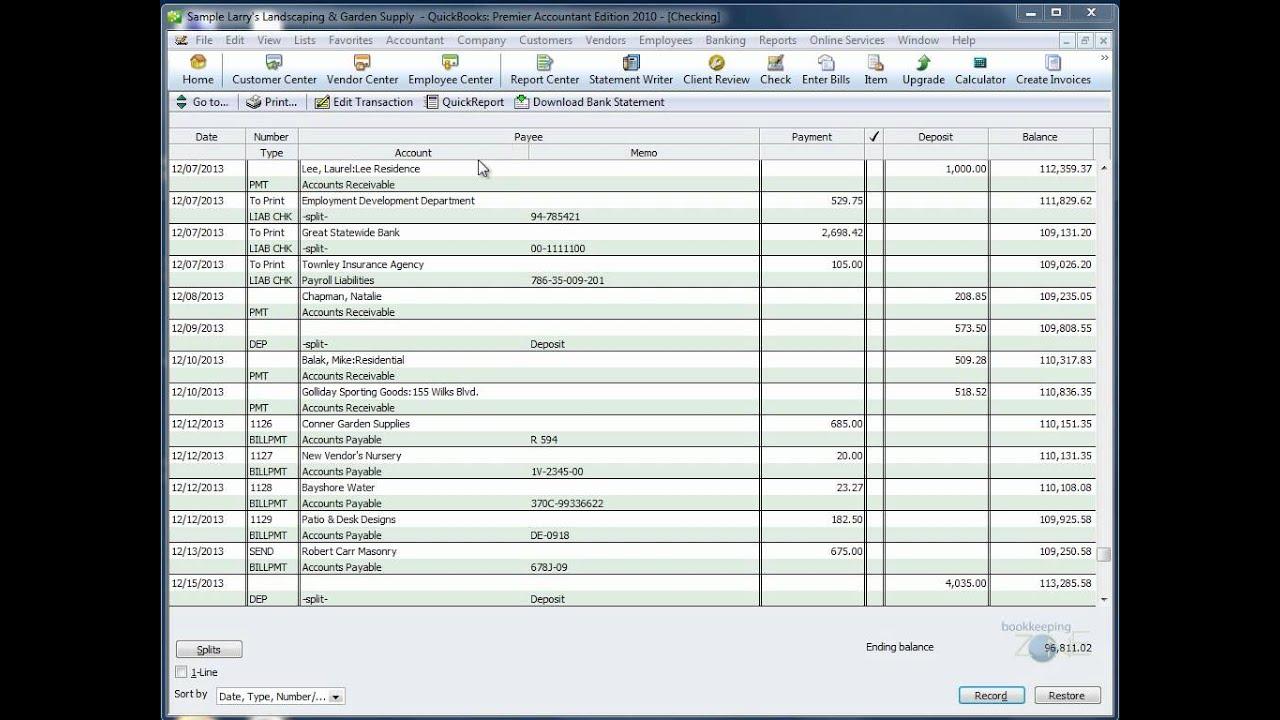 bank transaction registers