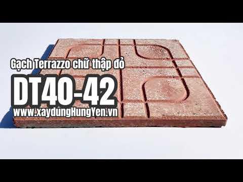 Gạch Lát Sân Vườn Terrazzo Chữ Thập Màu đỏ DT40-42   Gạch Lát Sân Vườn, Gạch Lát Vỉa Hè Hưng Yên