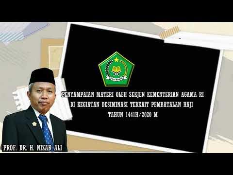 Sekertaris Jenderal Kementerian Agama RI Memberikan Sambutan di Kegiatan Diseminasi Pembatalan Pemberangkatan Haji Angkatan VI