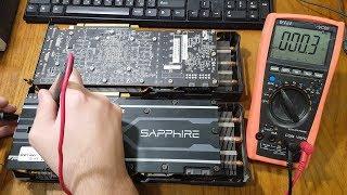 Ремонт видеокарт Sapphire R9 390. Типичные поломки.