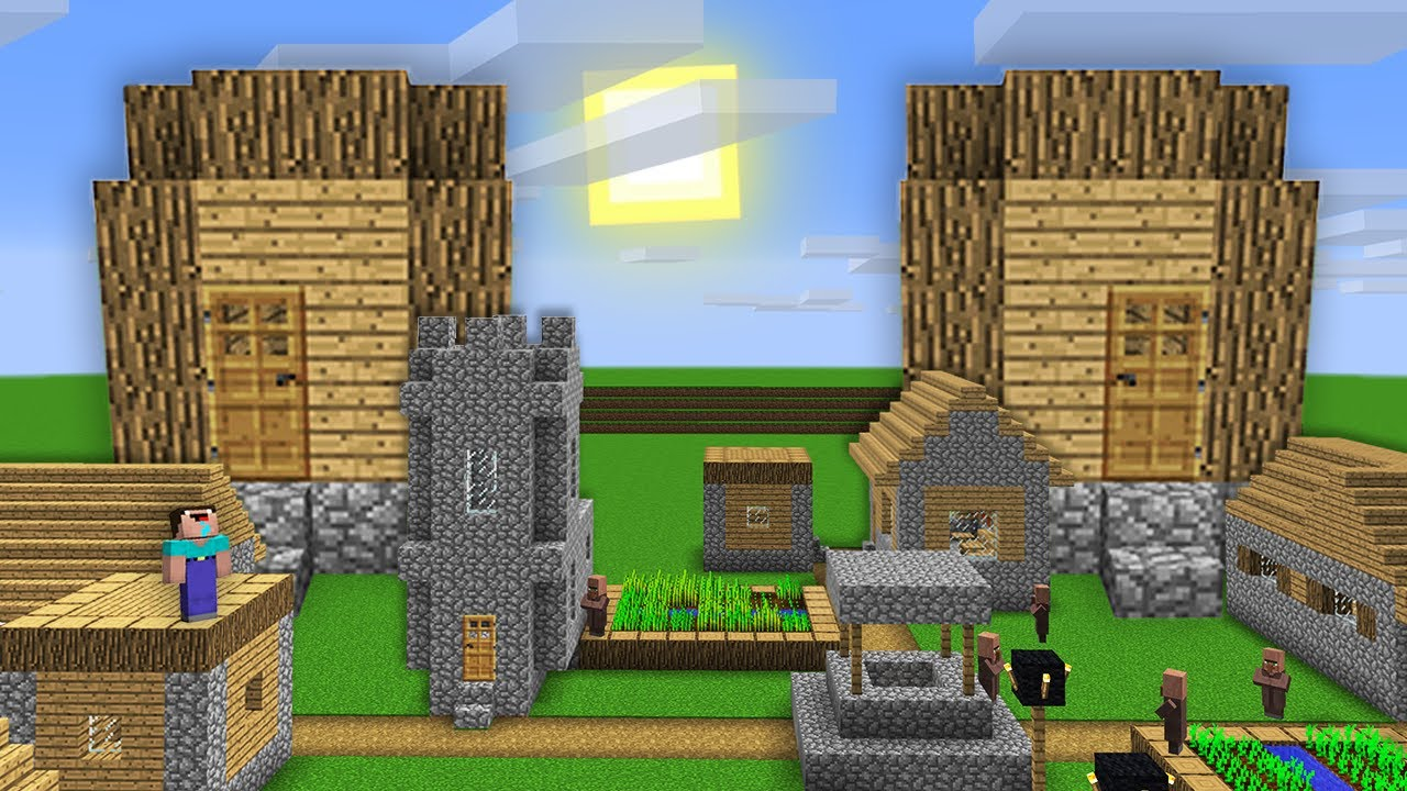 IN THIS VILLAGE NOOB FOUND TWO GIANT HOUSES! Minecraft - NOOB vs PRO