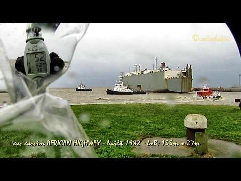 car carrier AFRICAN HIGHWAY Emden Port 7BFT Tugs Autotransporter Sturm Emder Hafen