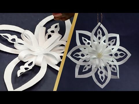 Quick Christmas Snowflake Ideas 2019 | Easy DIY White Flower Paper Pattern Snowflake for Decoration