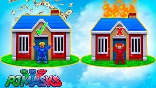 CAT BOY, CORUJITA AND LAGARTIXO IN THE CHALLENGE CHOOSE THE RIGHT HOUSE ON THE ISLAND OF ROBLOX-PJ MASKS