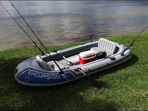 Testing our new Intex Excursion 5 Boat!