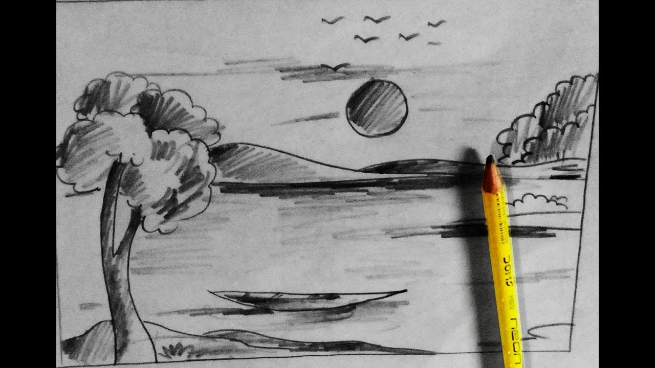 How to draw scenery of village nature scenery with pencil step by step by pencil sketch
