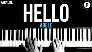 Adele - Hello Karaoke SLOWER Acoustic Piano Instrumental Cover Lyrics