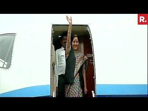 Sushma Swaraj Arrives In Russia For Eastern Economic Forum