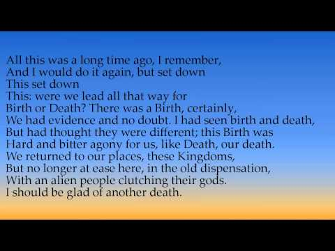 journey of the magi t s Journey of the magi by t s eliot - 'a cold coming we had of it, just the worst time of the year for a journey, and such a journey: the ways deep and the.