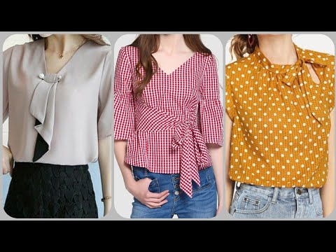Beautiful Casual Cotton Top And Blouse Neck Styles Ideas