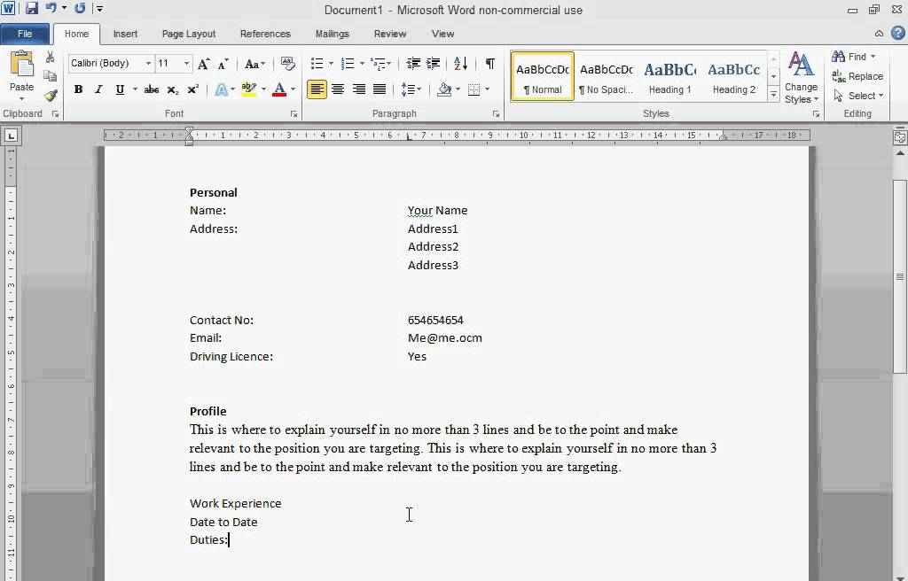 create a cv in word 2010