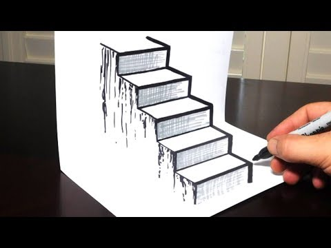 How to Draw a 3D Staircase - Drawing Steps Trick Art