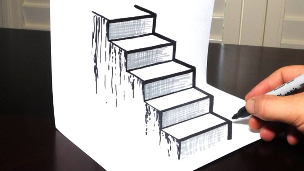 how to draw a 3d staircase drawing steps trick art - How To Draw 3d Diagrams