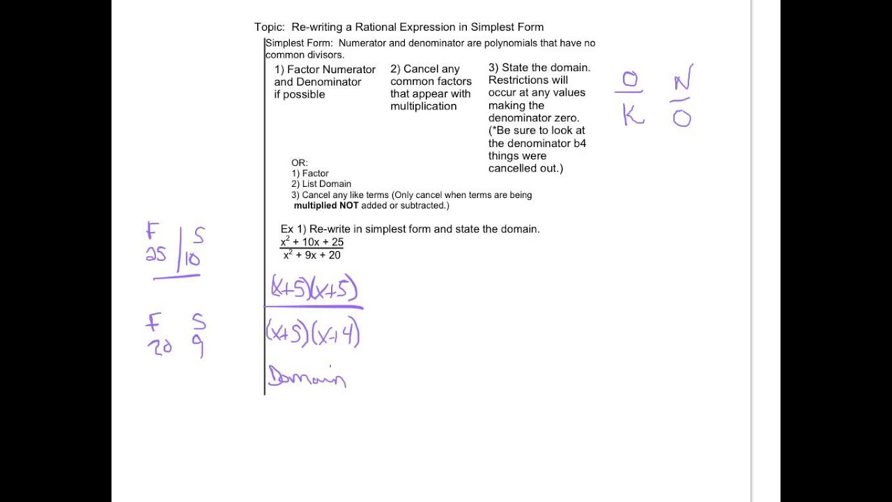 simplest form functions  Rational Functions in Simplest Form