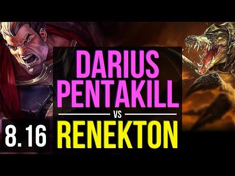 DARIUS Vs RENEKTON (TOP) ~ Pentakill, KDA 14/0/3, Legendary ~ Korea Diamond ~ Patch 8.16