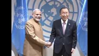 PM Modi meets Secretary-General of the United Nations Ban Ki-moon in New York