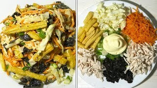 Вкусный Салат с Интересной подачей | Как приготовить сборный салат из курицы и овощей