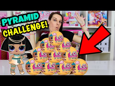 GIANT LOL SURPRISE PYRAMID CHALLENGE with LIL SISTERS SERIES 3 WAVE 2 dolls + We unbox LIL PUNK BOI!