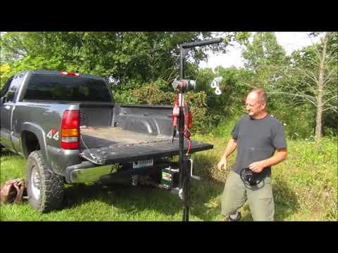 Pickup Truck Crane, receiver hitch hoist demonstration with Gorillabac log Splitter lift attachment.