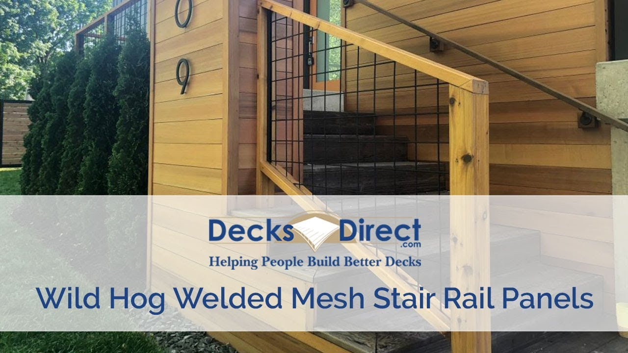 Welded Mesh Stair Rail Panels By Wild Hog Railing - YouTube