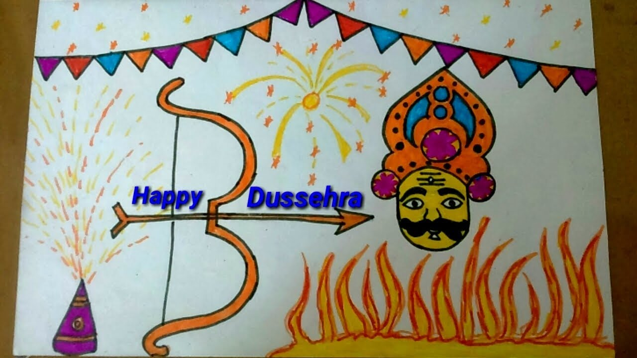 Dussehra Easy And Colourful Festival Celebration Drawing Step By Step Ravan For Dussehra Drawing By Money Guru 1002