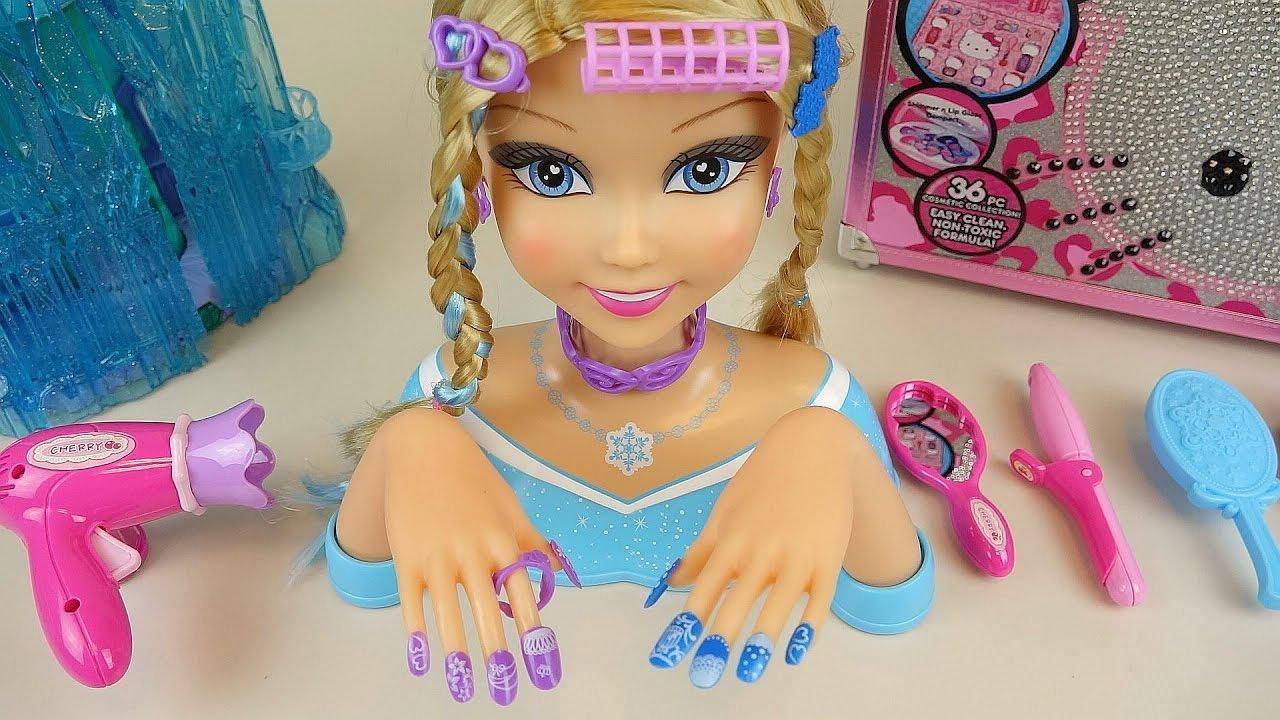 Elsa Nail art Hair shop & Baby Doll wave drier toys - YouTube