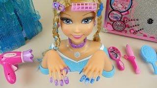 Elsa Nail art Hair shop & Baby Doll wave drier toys