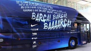 Lanzan piedra al bus del fc barcelona en mestalla!!
