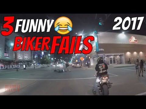 FUNNY Biker Wheelie FAIL Before 👮🚓 Security Guards Can Kick Out Stunt Bike Rider BEEFS IT 😂 2017