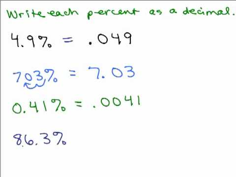 Percents Part 2 Change Percent To Decimal